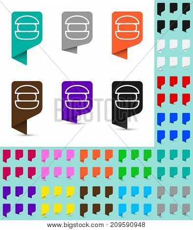 Map marker or pointer rounded marker mock up in different colors. Ready marker template for your various icons. Burger icon is shown as an example.