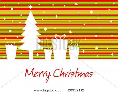 red, green lines, star background with gift, tree