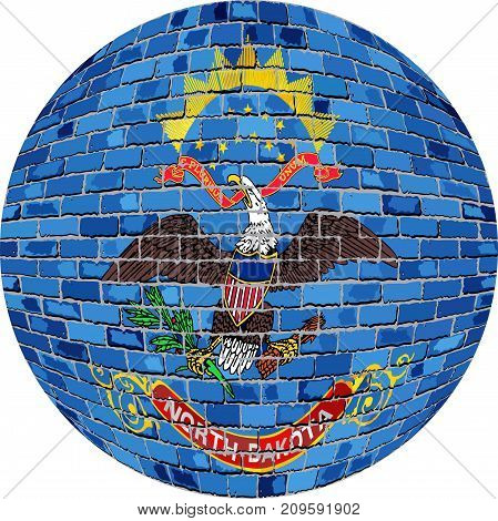 Ball with North Dakota flag in brick style - Illustration