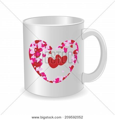 White cup isolated on white background. Beautiful heart for Valentine's day. Vector