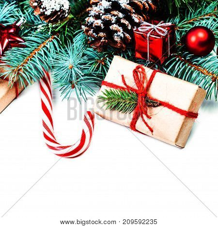 Vintage Merry Christmas Greeting Card. Flat lay top view with copy space. Christmas or New Year decorations background isolated
