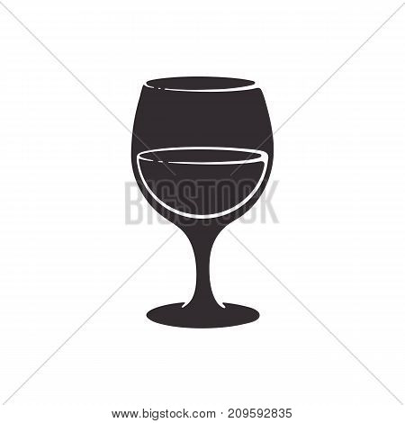 Vector illustration. Silhouette of a glass with wine. Glass goblet of alcohol drink. Isolated pattern on white background