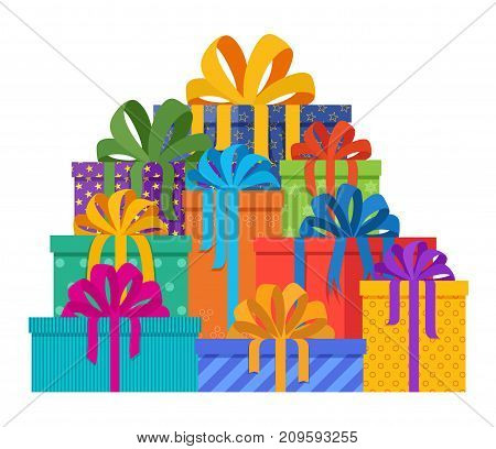 Big pile of christmas gifts in holiday packages with colored paper and bowknots. Christmas holiday presents designed in flat style. Mountain of beautiful gifts. Vector illustration.