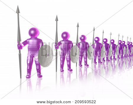 Purple soldiers on white reflective background 3D illustration.