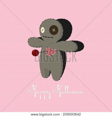 Voodoo doll. Cartoon horror elements. Spooky trick or treat