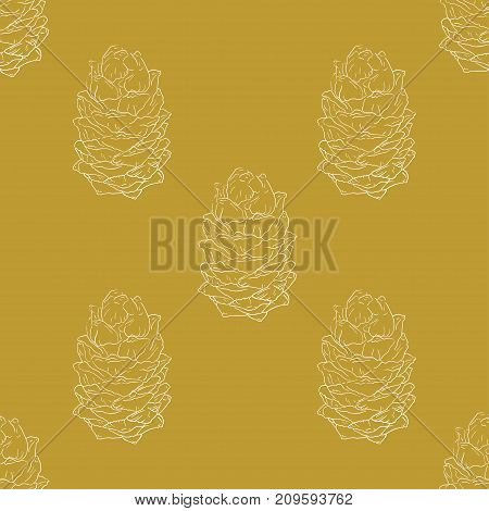Golden fir cones decor seamless pattern. Vector illustration for your design