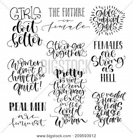 Feminist quotes set. The future is female, girls support girls, stronger together. Modern brush calligraphy. Graphic design element. Can be used as print for poster, t shirt, postcard.