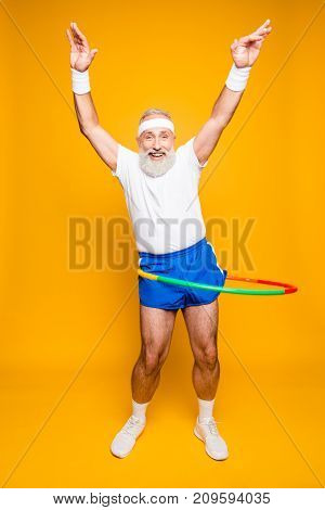 Emotional Cool Cheerful Excited Crazy Funny Fooling Playful Gymnast Grandpa With Comic Grimace, Exer