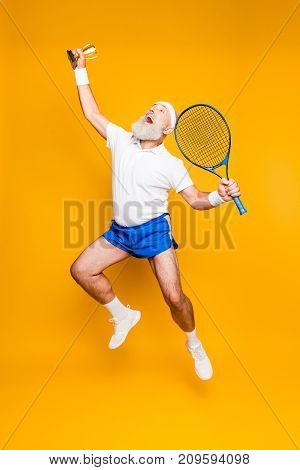 Competetive Best Cool Healthy Modern Successful Active Grandpa With Big Tennis Equipment Raised In H
