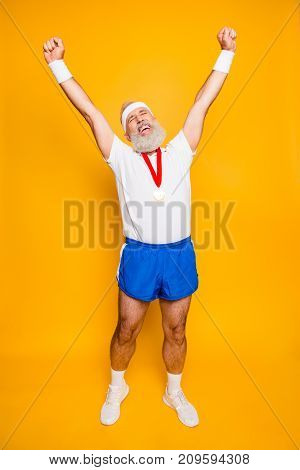 Full Length Of Best Successful Motivated Insane Active Modern Cool Funny Grandpa Celebrating. Body,
