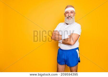Mature Modern Cool Grey Haired Macho Competetive Pensioner Grandpa, Leader, Champion. Bodycare, Heal