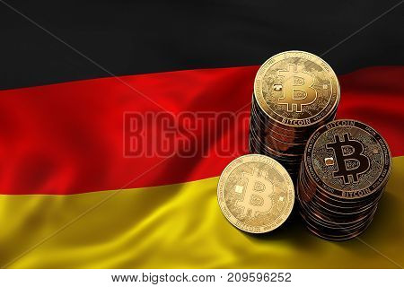 Stack Of Bitcoin Coins On German Flag. Situation Of Bitcoin And Other Cryptocurrencies In Germany Co