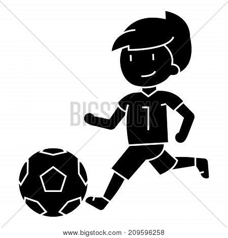 soccer, boy playing football  icon, vector illustration, black sign on isolated background