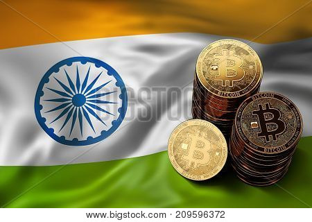 Stack Of Bitcoin Coins On Indian Flag. Situation Of Bitcoin And Other Cryptocurrencies In India Conc