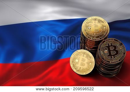 Stack Of Bitcoin Coins On Russian Flag. Situation Of Bitcoin And Other Cryptocurrencies In Russia Co