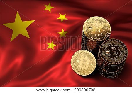 Stack Of Bitcoin Coins On Chinese Flag. Situation Of Bitcoin And Other Cryptocurrencies In China Con