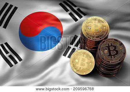 Stack Of Bitcoin Coins On South Korean Flag. Situation Of Bitcoin And Other Cryptocurrencies In Sout