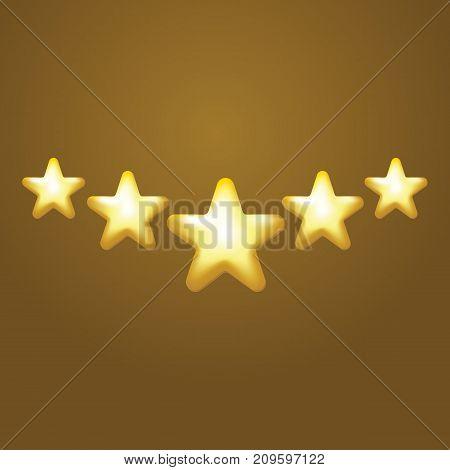 5 Star Vector Icon, Rank, Gold Favorite Web Symbol