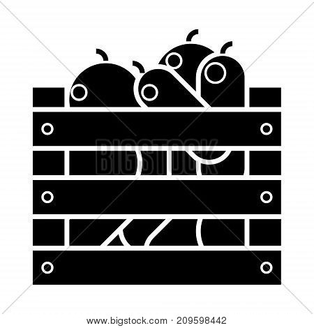 vegetables harvest box  icon, vector illustration, black sign on isolated background
