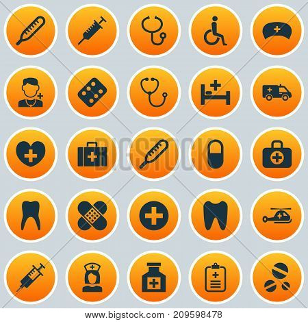 Medicine Icons Set. Collection Of Heal, Physician, Injection And Other Elements