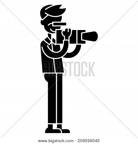 videographer  icon, vector illustration, black sign on isolated background