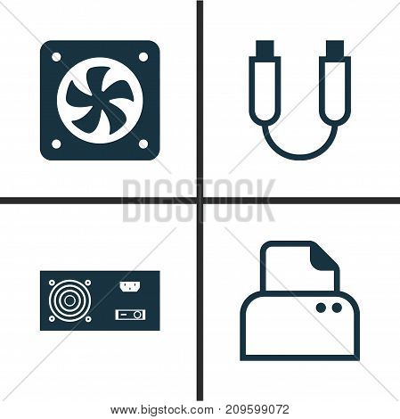 Hardware Icons Set. Collection Of Power Generator, Computer Ventilation, File Scanner And Other Elements