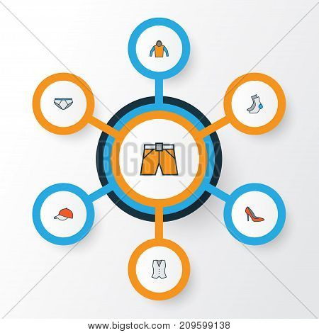 Garment Colorful Outline Icons Set. Collection Of Cap, Sweatshirt, Heels And Other Elements