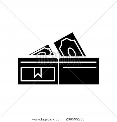wallet with banknotes  icon, vector illustration, black sign on isolated background