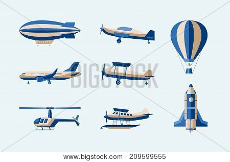 Aircraft - modern vector isolated set of objects on light background. Different means of transport: plane, helicopter, hot air ballon, airship, rocket, amphibian. Five flying machines