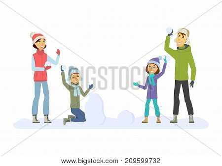 Happy family throwing snowballs - cartoon people characters illustration on white background. Concept of winter activity, New Year, Christmas. Smiling mother and father with children play outdoors