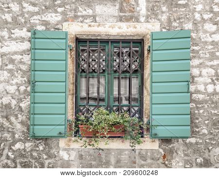 Window with flowers in a pot and wooden shutters.