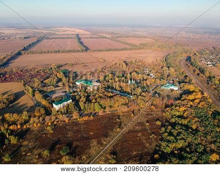 Aerial views on battle of Poltava place in Ukraine. Battle of Poltava, (8 July 1709), the victory of Peter I the Great of Russia over Charles XII of Sweden in the Great Northern War.
