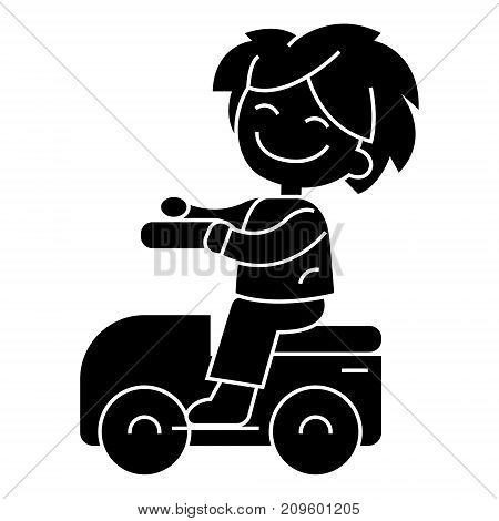 boy playing with the car, driving on car  icon, vector illustration, black sign on isolated background