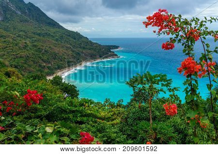 Amazing caribbean view from the green hill to azure sea. Travel concept. Dominican Republic