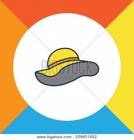 Premium Quality Isolated Elegant Headgear Element In Trendy Style.  Panama Colorful Outline Symbol.