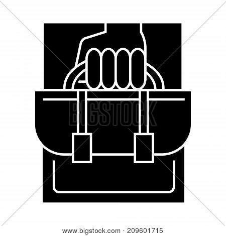 business portfolio  icon, vector illustration, black sign on isolated background