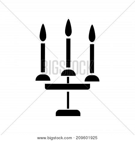 candles 3 candelabrum  icon, vector illustration, black sign on isolated background