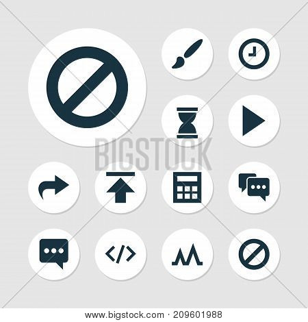 Interface Icons Set. Collection Of Messenger, Action, Tag And Other Elements