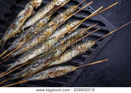 Traditional Spanish barbecue sardines on a wooden skewer as top view on a grillage