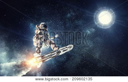 Astronaut surfing dark sky. Mixed media