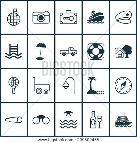Tourism Icons Set. Collection Of Wine, Travel Direction, Lamppost And Other Elements