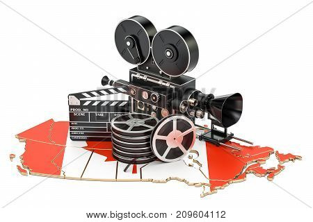 Canadian cinematography film industry concept. 3D rendering isolated on white background