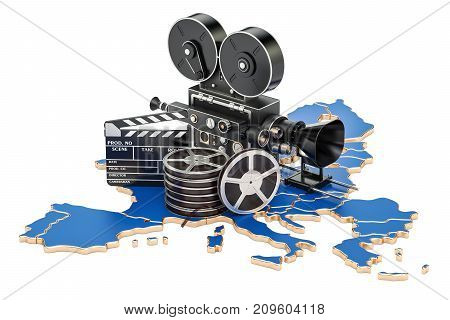 European cinematography film industry concept. 3D rendering isolated on white background