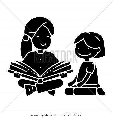kindergarten teacher, woman reading book to girl  icon, vector illustration, black sign on isolated background
