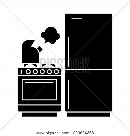 kitchen, refrigerator, stove, kettle  icon, vector illustration, black sign on isolated background