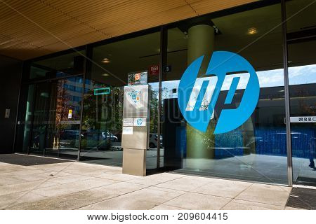 Prague, Czech Republic - October 14: The Hewlett-packard Company Logo On Headquarters Building On Oc