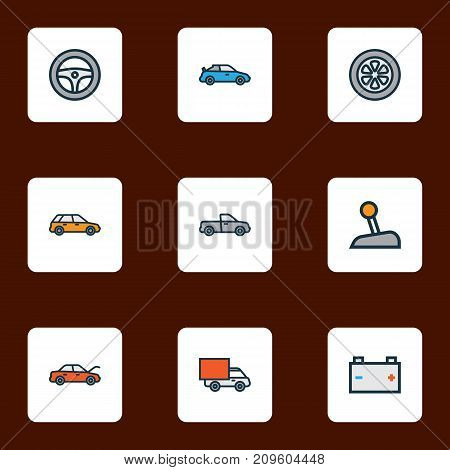 Car Colorful Outline Icons Set. Collection Of Bonnet, Rudder, Machine And Other Elements