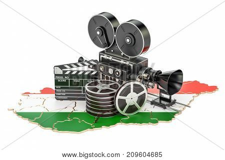 Hungarian cinematography film industry concept. 3D rendering isolated on white background