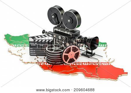 Iranian cinematography film industry concept. 3D rendering isolated on white background