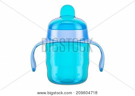 Non-spill cup blue color. 3D rendering isolated on white background